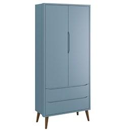 Guarda Roupa 2 Portas e Cômoda com Porta Theo Azul Fosco Pés Amadeirado - Reller Móveis
