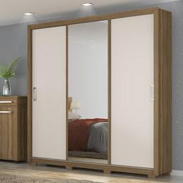 Guarda Roupa Casal 3 Portas de Correr com Espelho e Pés Quadrados Lara - PR Móveis Amendola/Off White