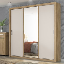 Guarda Roupa Casal 3 Portas de Correr com Espelho Lara Amendola/Off White - PR Móveis