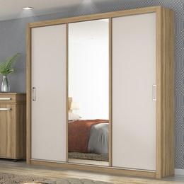 Guarda Roupa Casal 3 Portas de Correr com Espelho Lara - PR Móveis Amendola/Off White