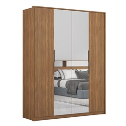 Guarda Roupa Casal Cloud 4 Portas com 2 Espelhos Amêndola - PR Móveis