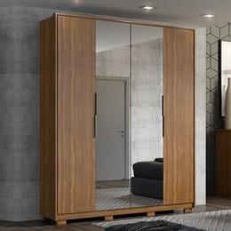 Guarda Roupa Casal Cloud 4 Portas com 2 Espelhos e Pés Amêndola - PR Móveis