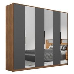 Guarda Roupa Casal Moon 6 Portas e 6 Gavetas com 3 Espelhos Amêndola/Grafito - PR Móveis