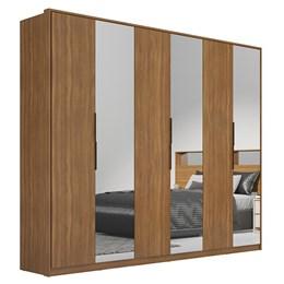 Guarda Roupa Casal Moon 6 Portas e 6 Gavetas com 3 Espelhos Amêndola - PR Móveis