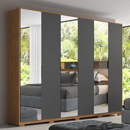 Guarda Roupa Casal Moon 6 Portas e 6 Gavetas com 3 Espelhos e Pés Amêndola/Grafito - PR Móveis