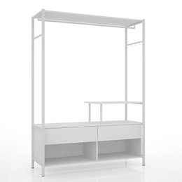 Guarda Roupa Closet 01 Office Industrial Branco - PR Móveis