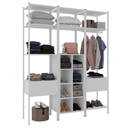 Guarda Roupa Modular Closet Completo Oxford Branco - Artefamol
