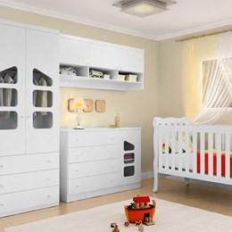 Jogo de Quarto Eloisa Modulado 4 peças com Berço Lila Grade Fixa - Phoenix Baby/Carolina Baby