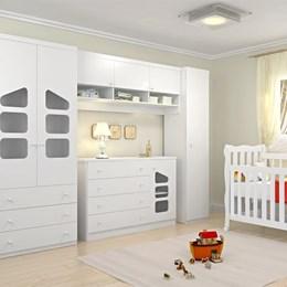 Jogo de Quarto Eloisa Modulado 5 peças com Berço Lila Grade Fixa - Phoenix Baby/Carolina Baby