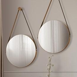 Kit 2 Espelhos Decorativos Redondos com Alça de Couro Sunset Carvalho - PR Móveis