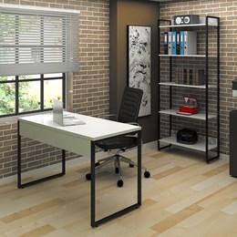 Kit 2 Mesas de Escritório 120 com 2 Estantes 5 Prateleiras Office Industrial Branco - Pr Móveis