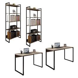 Kit 2 Mesas de Escritório 120 com 2 Estantes 5 Prateleiras Office Industrial Carvalho Bruma - Pr Móv
