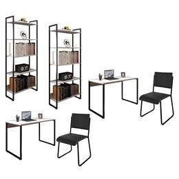 Kit 2 Mesas de Escritório 120 e 2 Estantes Office Industrial Branco com 2 Cadeiras Studio Ind - PR M