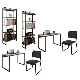 Kit 2 Mesas de Escritório 120 e 2 Estantes Office Industrial Carvalho Bruma com 2 Cadeiras Studio In