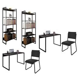 Kit 2 Mesas de Escritório 120 e 2 Estantes Office Industrial Preto com 2 Cadeiras Studio Ind - PR Mó