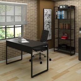 Kit 2 Mesas de Escritório 120 e 2 Estantes Office Industrial Preto com 2 Cadeiras Studio Ind - PR Móveis