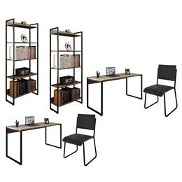 Kit 2 Mesas de Escritório 150 e 2 Estantes Office Industrial Carvalho Bruma com 2 Cadeiras Studio In