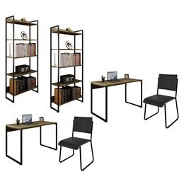 Kit 2 Mesas de Escritório 150 e 2 Estantes Office Industrial Nogal Málaga com 2 Cadeiras Studio Ind