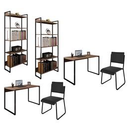 Kit 2 Mesas de Escritório 150 e 2 Estantes Office Industrial Nogal Sevilha com 2 Cadeiras Studio Ind