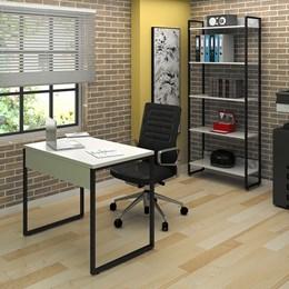 Kit 2 Mesas de Escritório 90 e 2 Estantes Office Industrial Branco com 2 Cadeiras Studio Ind - PR Móveis
