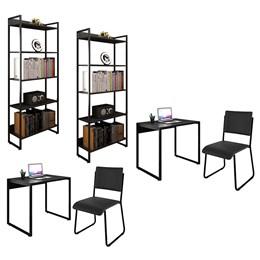 Kit 2 Mesas de Escritório 90 e 2 Estantes Office Industrial Preto com 2 Cadeiras Studio Ind - PR Móveis