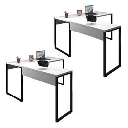 Kit 2 Mesas de Escritório em L 150x120 Office Industrial Branco - PR Móveis