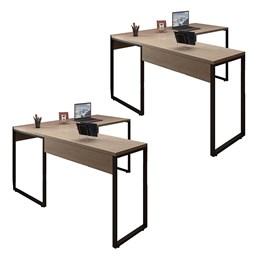 Kit 2 Mesas de Escritório em L 150x120 Office Industrial Carvalho Bruma - PR Móveis