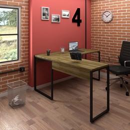 Kit 2 Mesas de Escritório em L 150x120 Office Industrial Nogal Málaga - PR Móveis