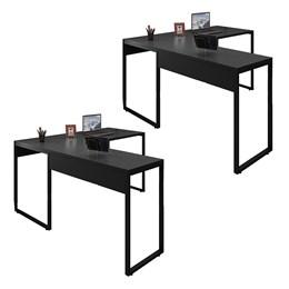 Kit 2 Mesas de Escritório em L 150x120 Office Industrial Preto - PR Móveis