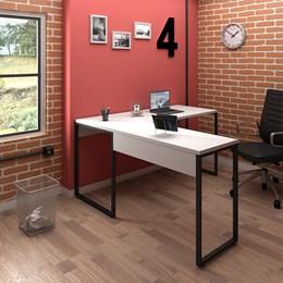Kit 2 Mesas de Escritório em L 150x150 Office Industrial Branco - PR Móveis