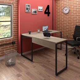 Kit 2 Mesas de Escritório em L 150x150 Office Industrial Carvalho Bruma - PR Móveis