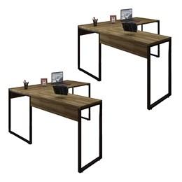 Kit 2 Mesas de Escritório em L 150x150 Office Industrial Nogal Málaga - PR Móveis