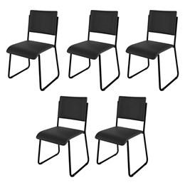 Kit 5 Cadeiras Mundi Preto - Móveis Belo