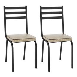 Kit com 2 Cadeiras Malva 118 Preto/Rattan - Artefamol