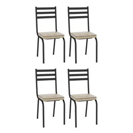 Kit com 4 Cadeiras Malva 118 Preto/Rattan - Artefamol