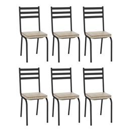 Kit com 6 Cadeiras Malva 118 Preto/Rattan - Artefamol