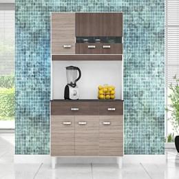 Kit Cozinha Compacta Manu 6 Portas Amêndoa/Capuccino - Poquema
