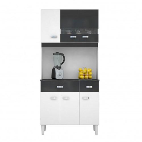 Kit Cozinha Compacta Manu 6 Portas Branco/Preto - Poquema