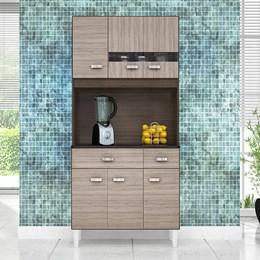 Kit Cozinha Compacta Manu 6 Portas Capuccino/Amêndoa - Poquema