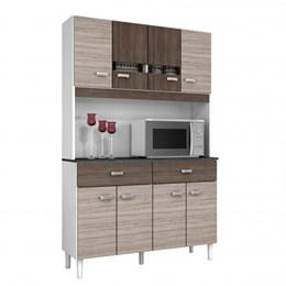 Kit Cozinha Compacta Manu 8 Portas Amêndoa/Capuccino - Poquema