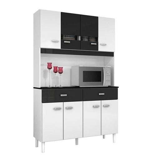 Kit Cozinha Compacta Manu 8 Portas Branco/Preto - Poquema