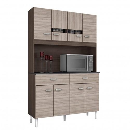Kit Cozinha Compacta Manu 8 Portas Capuccino/Amêndoa - Poquema