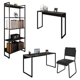 Kit Mesa 150, Aparador 120 e Estante Office Industrial Preto com Cadeira Studio Ind - PR Móveis