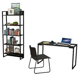 Kit Porto com Mesa de Escritório 120, Estante e Cadeira Mundi Preto - FitMobel