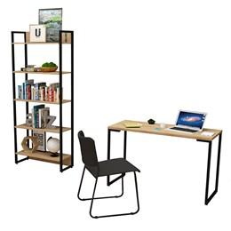 Kit Porto com Mesa de Escritório 120, Estante Natura e Cadeira Mundi Preto - FitMobel