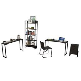 Kit  Porto Mesa de Escritório 120, Estante, Gaveteiro Wolli, Aparador e Cadeira Mundi Preto - FitMob