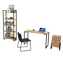 Kit Porto Mesa de Escritório 120, Estante, Gaveteiro Wolli Natura e Cadeira Mundi Preto - FitMobel