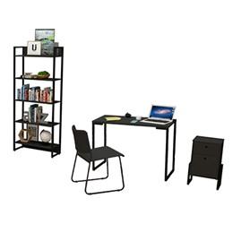 Kit Porto Mesa de Escritório 90, Estante, Gaveteiro Wolli e Cadeira Mundi Preto - FitMobel