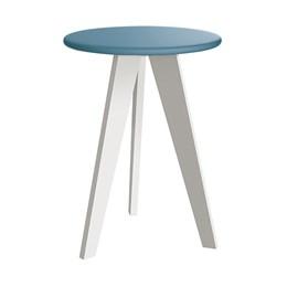 Mesa de Canto Prince Azul Fosco com Pés Branco - Reller Móveis