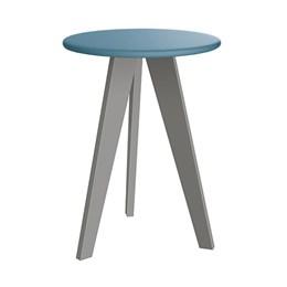 Mesa de Canto Prince Azul Fosco com Pés Cinza - Reller Móveis